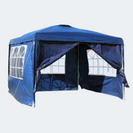 3x3m tent; paviljoen met verwijderbare zijpanelen, blauw
