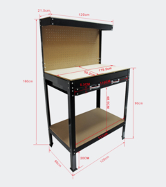 Werkbank 1200x600x1600mm voorzien van stevig werkblad en geperforeerde wand.
