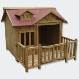 XL Hondenkennel, hondenhuis met veranda, massief hout.