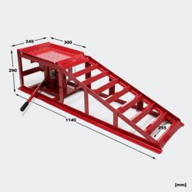 Oprijbok met ingebouwde hydrolische krik, tot 2000 kg!