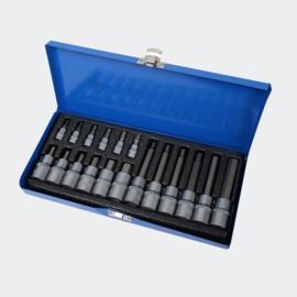 Dopsleutelset zeskant 18-delig moeren in metalen kist.