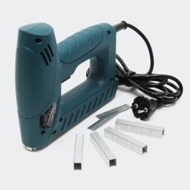 Combinatie elektrische tacker en elektrische nieter, inclusief spijkers en nietjes.