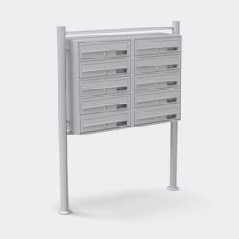 Meervoudige staande brievenbus ( 10 stuks ) in zilver.