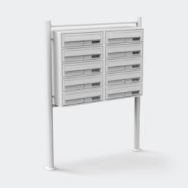 Meervoudige staande brievenbus ( 10 stuks ) in wit.