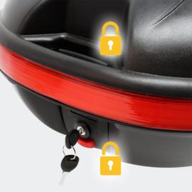 Helmkoffer, Motor topkoffer mat zwart, 31L inhoud, helmopbergkoffer