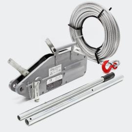 Kabeltrekker tot 1600 kg met 20m kabel Ø11mm voor trekken, spannen en hijsen.