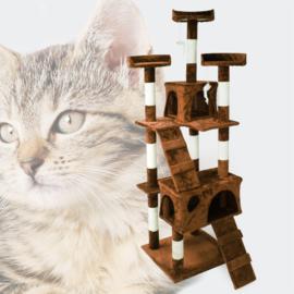 Katten Krabpaal; Bruin 170cm met kattenhuisjes, ladders & platforms