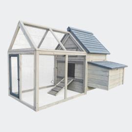 Kippenhok grijs-wit 166x118.5x112cm, nestkast & scharrel, hout