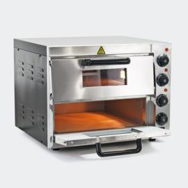 Dubbele pizzaoven met vuurvaste steen voor pizza uit de steenoven; 3000W.