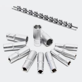 """Lange 3/8"""" dopsleutel set, 12-delige set; 8-19 mm CrV, 6-kant."""