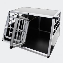 Mobiele aluminium hondentransportkooi, MDF, type klein, 2 deuren.