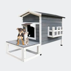 Weerbestendig houten kattenhuis, lodge met terras