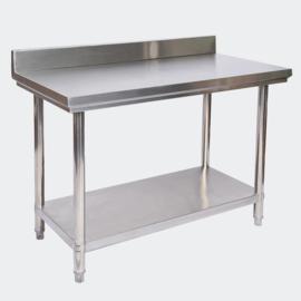RVS tafel werktafel Roestvrije stalen tafel met opstaande rand 100x60x85.