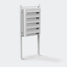 Meervoudige staande brievenbus ( hoog 5 stuks ) in wit.