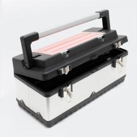 Gereedschapskoffer 59x28x25,5cm met gereedschapshouder en roestvrijstalen behuizing