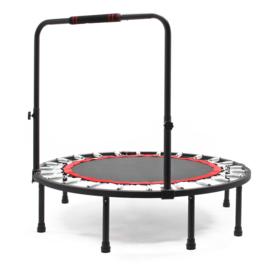 Fitnesstrampoline Ø1220 mm tot 150kg met in hoogte verstelbare handgreep.