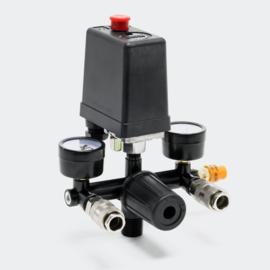 Dubbele drukregelaar met drukschakelaar voor compressor,  8 bar, 230V
