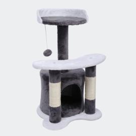 Krabpaal 65cm grijs / wit met sisal, ligvlakken en kattengrot.