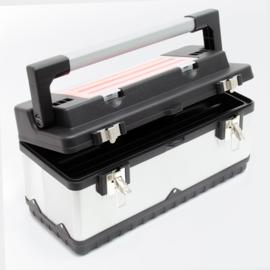 Gereedschapskoffer 50,5x23,5x25,5cm met gereedschapshouder en roestvrijstalen behuizing