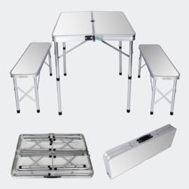 Aluminium koffertafel met 2 banken; 90x66x70 cm, opvouwbaar