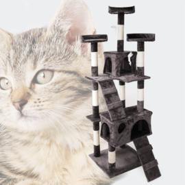 Katten Krabpaal; Grijs 170cm met kattenhuisjes, ladders & platforms