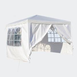 3x3m tent; paviljoen met verwijderbare zijpanelen, wit