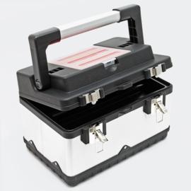 Gereedschapskoffer 38x27x25cm met gereedschapshouder en roestvrijstalen behuizing
