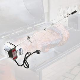 Gemotoriseerde RVS BBQ grillspies 110cm met 2 klemmen en contragewicht