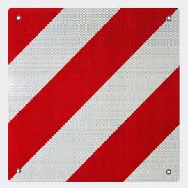 Aluminium waarschuwingsplaat, 50 x 50 cm, rood/wit reflecterend.