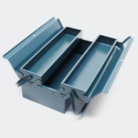 Gereedschapskist van koudgewalst staal, 3 compartimenten en handvat; klein.