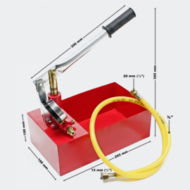 Vulpomp, testpomp 25bar voor verwarmingswater op zonne-energie.