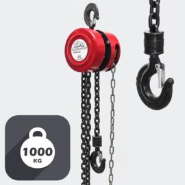 Kettingtakel tot 1000 kg met kettinglengte van 3 meter.