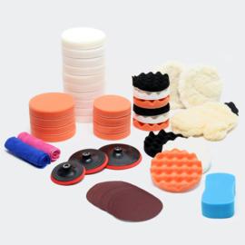 Opzetstukken voor polijstmachine, 44 delige set; polijstsponzen 125, 150, en 180 mm.
