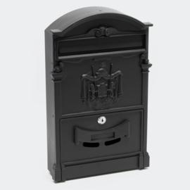 Brievenbus; Wandbrievenbus, Antiek Design, zwart