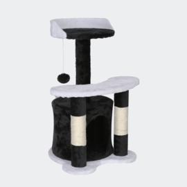 Krabpaal 65cm zwart / wit met sisal, ligvlakken en kattengrot.
