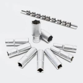 """Lange 1/2"""" dopsleutel set, 11-delige set; 10-24mm CrV, 6-kant."""