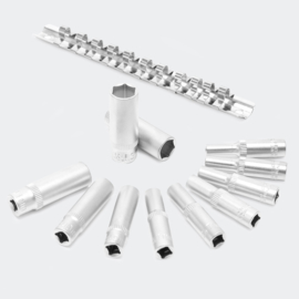 """Lange 1/4"""" dopsleutel set, 12-delige set; 4-13 mm CrV, 6-kant."""