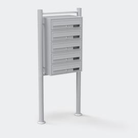 Meervoudige staande brievenbus ( hoog 5 stuks ) in zilver.