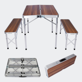 Aluminium koffertafel met 2 banken; hout design 90x66x70 cm, opvouwbaar