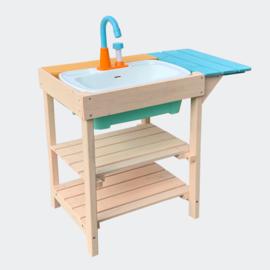 Kinderbuitenkeuken van hout, buitenkeuken.