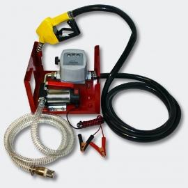 Zelfaanzuigende Diesel / Stookolie pomp, 24V/150W 40l/min voorzien van meter en tankpistool.