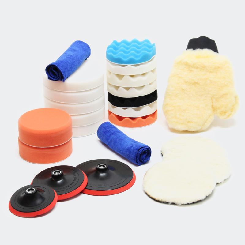 Opzetstukken voor polijstmachine, 23 delige set; polijstsponzen 125, 150 en 180 mm.