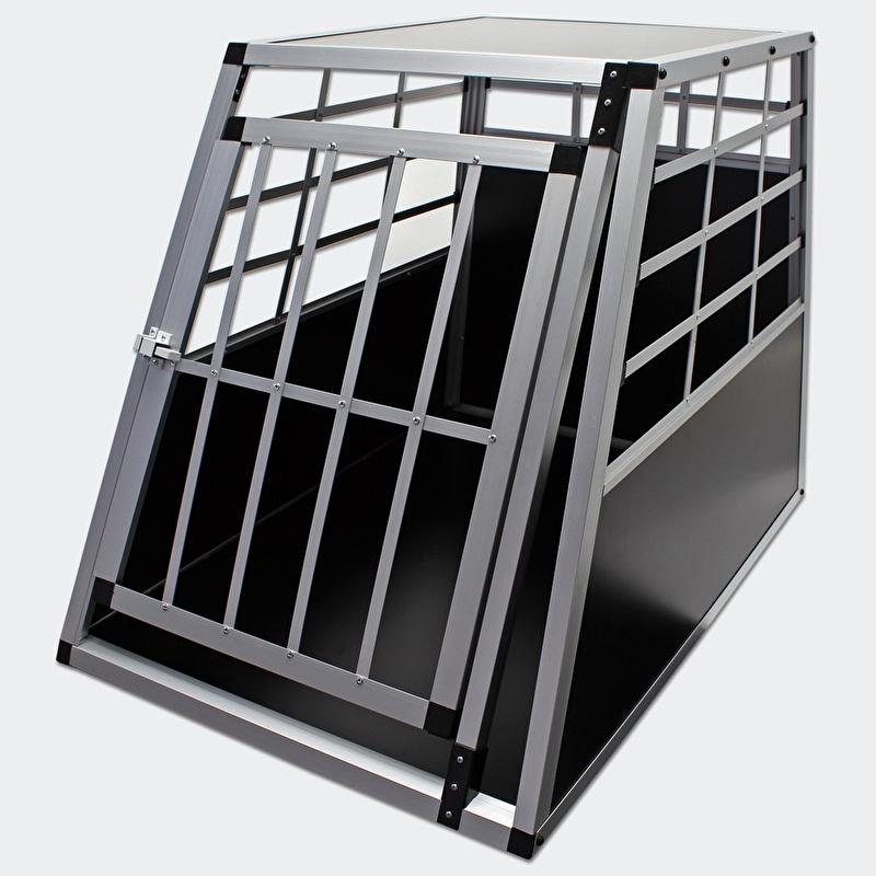 Mobiele aluminium hondentransportkooi, MDF, type groot, 1 deur.
