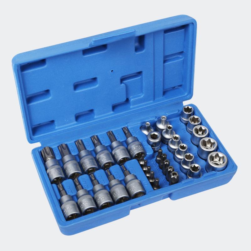 Meerpunts dopsleutelset 34-delig voor binnenzeskant & buitenzeskant.