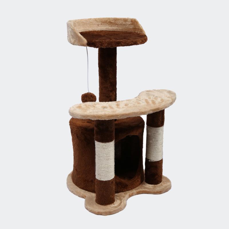 Krabpaal 65cm bruin / beige met sisal, ligvlakken en kattengrot.