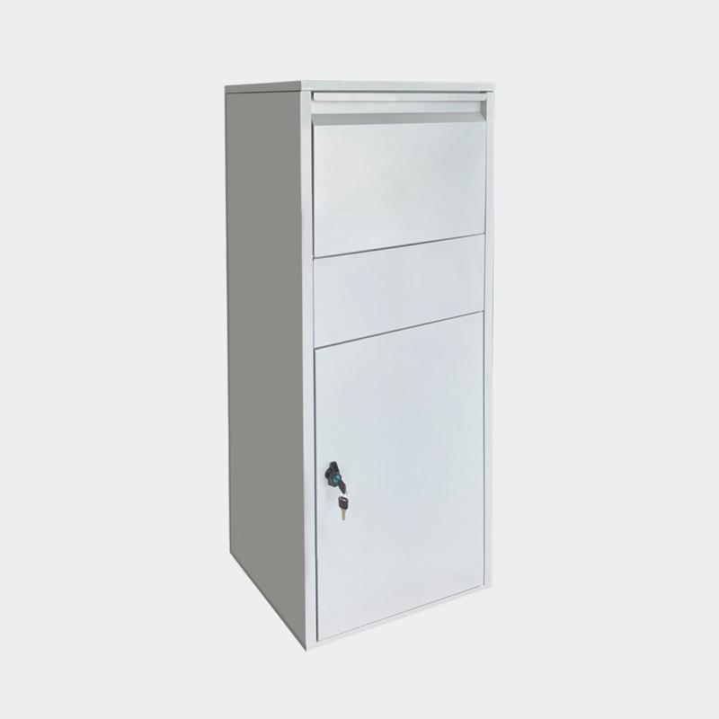 Pakketbrievenbus, brievenbus voor pakketten; Zilverkleurig.