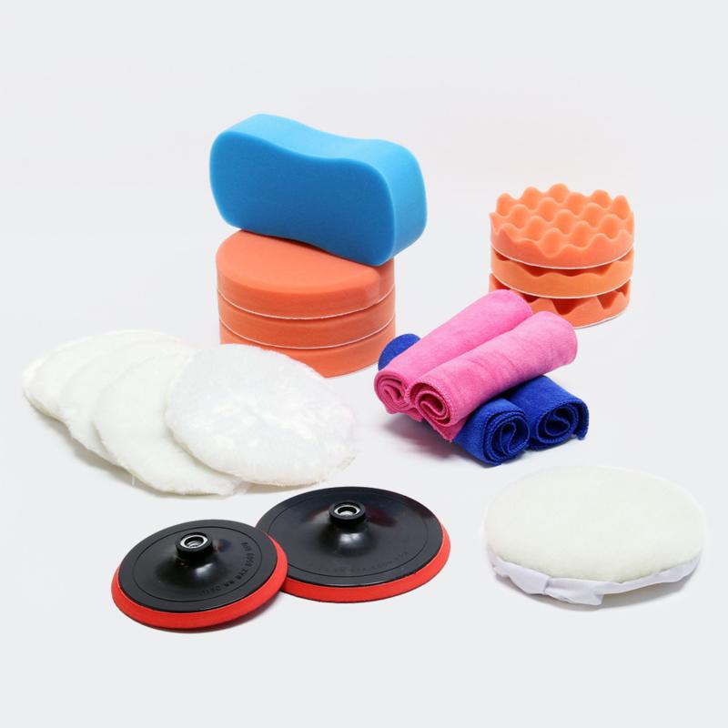 Opzetstukken voor polijstmachine, 19 delige set; polijstsponzen 150 mm en 180 mm.