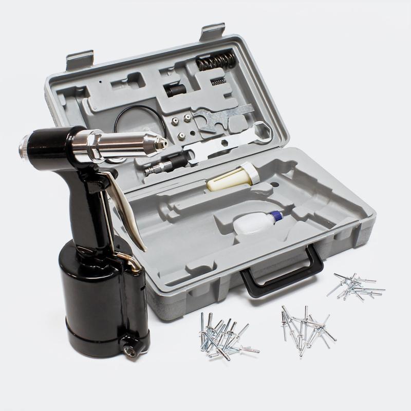 Perslucht nietpistool 2,4 - 4,8 mm pneumatisch klinkgereedschap Set.