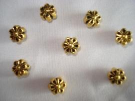 Metalen kraal bloemetje goudkleur