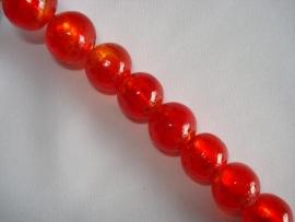 Streng zilverfolie glaskralen rond 12 mm rood (20 stuks)